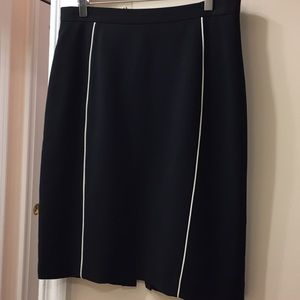 Tahari Black Pencil Skirt with white inserts